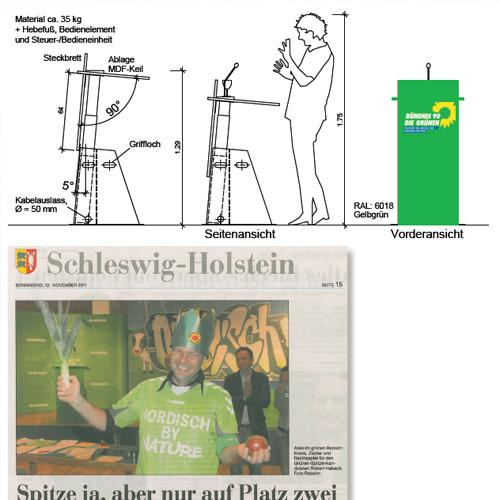 Redepult für Bündnis 90 DIE GRÜNEN Landesverband SH